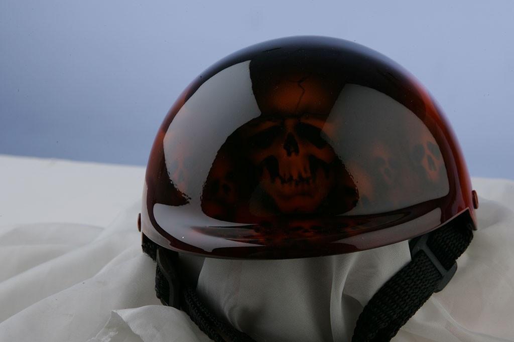Airbrushed Ghost Skull Dog Helmet
