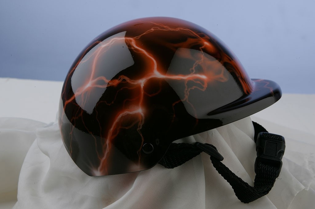 Airbrushed Orange Lightning Skull Dog Helmet