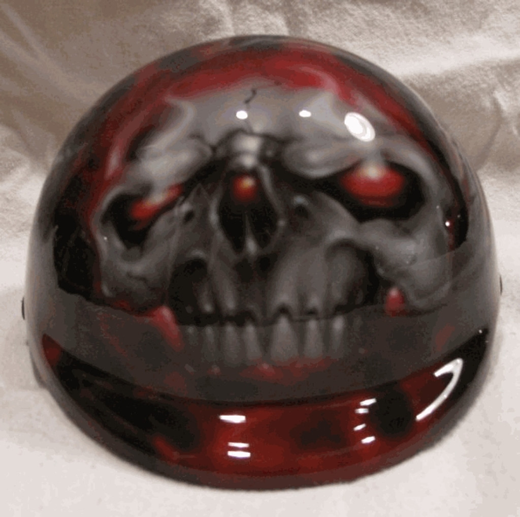 Airbrushed Red Eyes Skull Dog Helmet