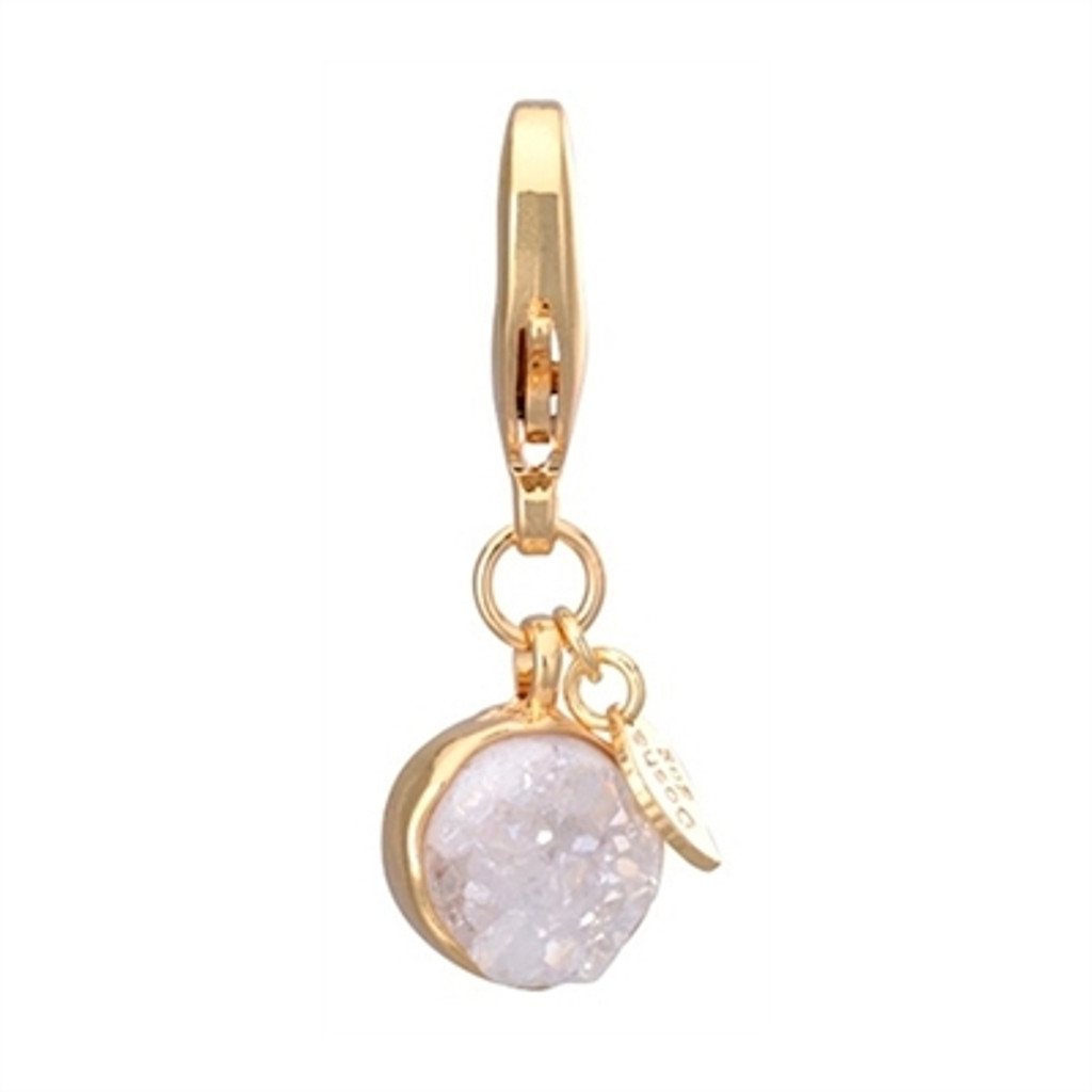 White Druzy Dog Collar Charm