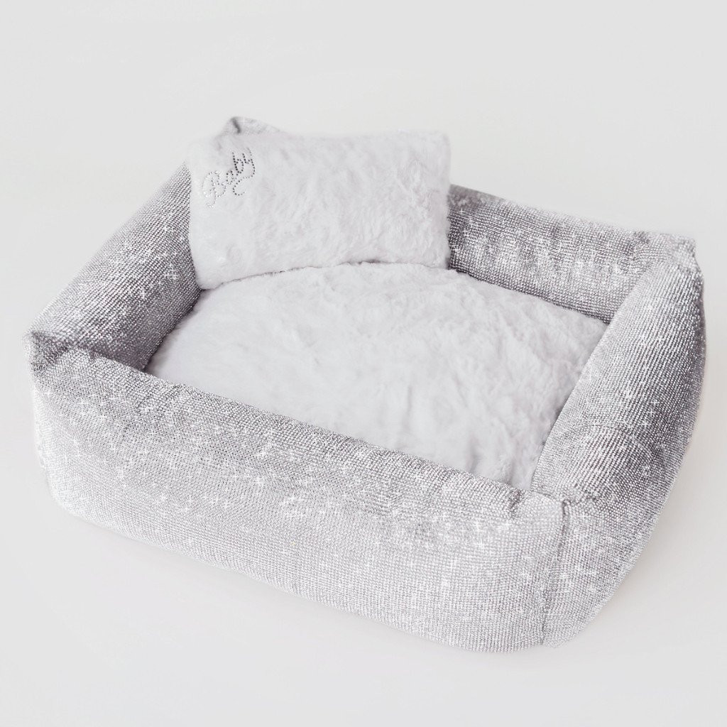 silver crystal dog bed