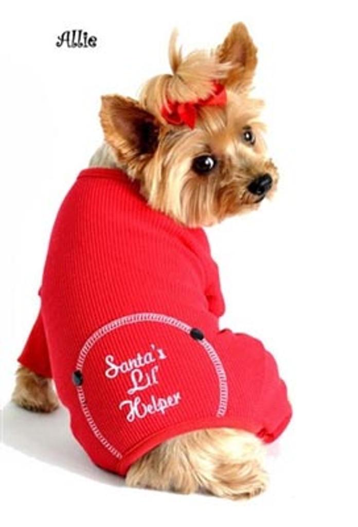 Santa's Little Helper red thermal dog pajamas