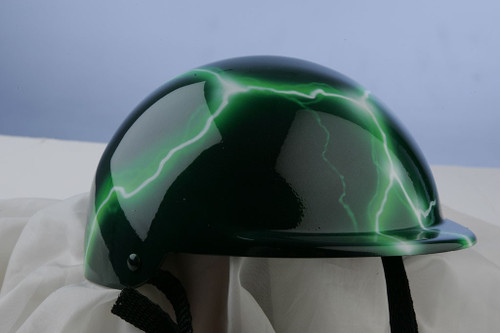 Airbrushed Neon Green Lightning Dog Helmet