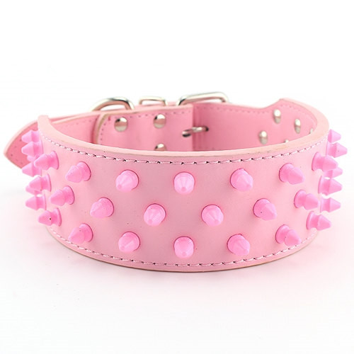 Pink Spiked Collar for Large Dogs