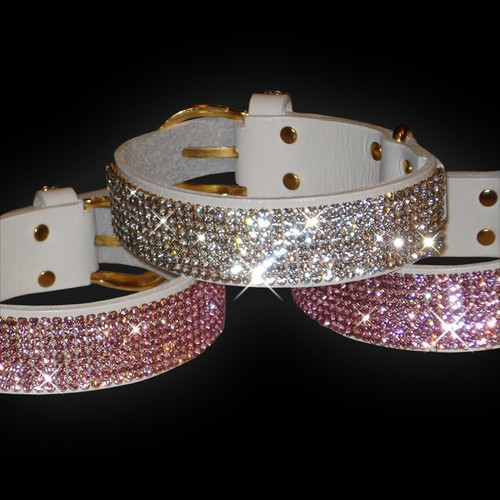 White Leather Dog Collar with Swarovski Crystals