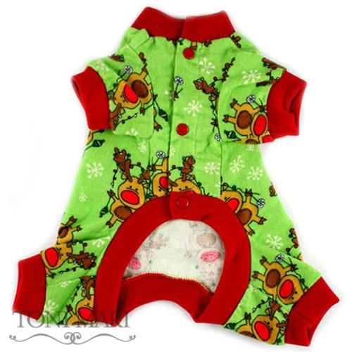Toni Mari Reindeer Snowflakes Dog Pajamas