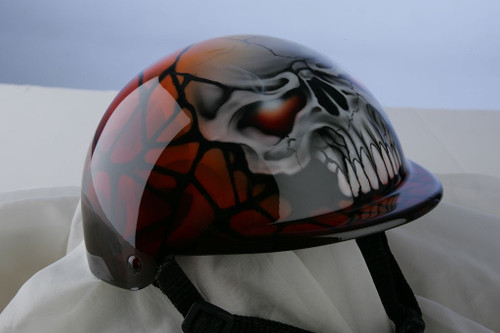 Airbrushed Orange Skull Dog Helmet
