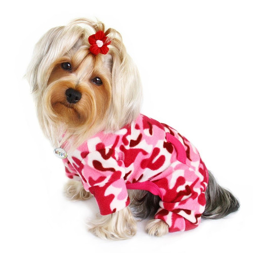 Fleece Pink Camo Dog Pajamas