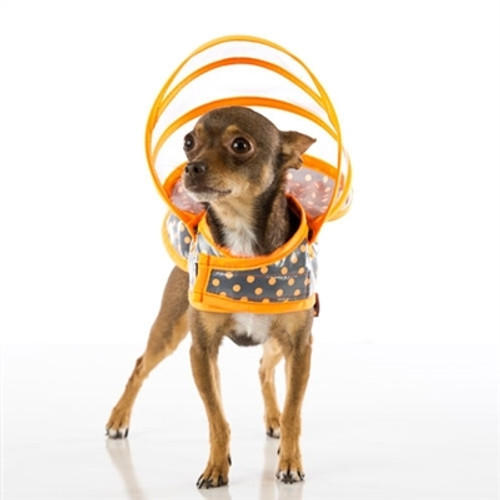 Dog Raincoat - Orange/Grey Polka Dot