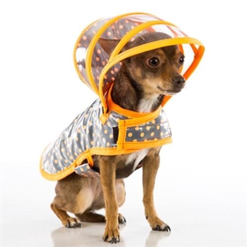 Dog Raincoat - Orange/Grey Polka Dot