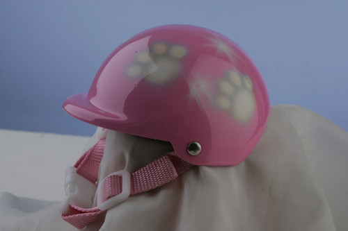 Airbrushed Pink Paws Dog Helmet