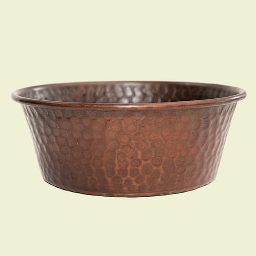 Hammered Copper Dog Bowl