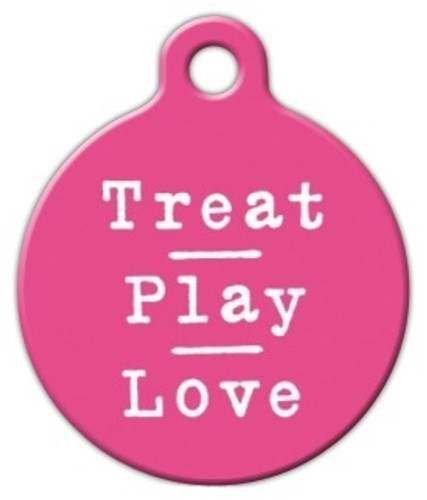 Pink Treat Play Love Dog ID Tag