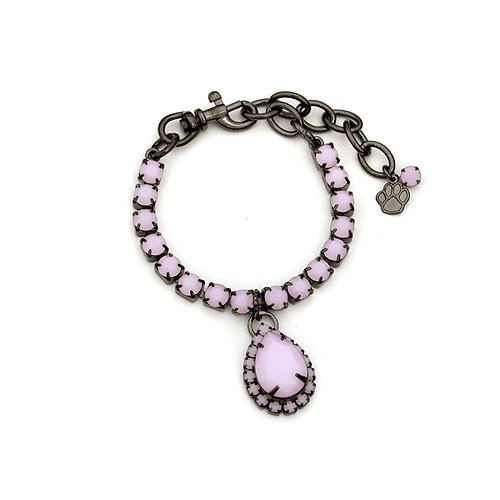 Gunmetal Dog Necklace with Large Pink Pear Drop Stone