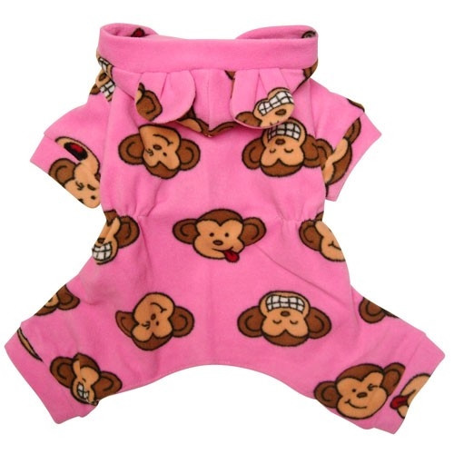 Pink Silly Monkey Hooded Fleece Dog Pajamas with Ears