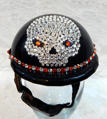 Black Bling Skull Dog Helmet