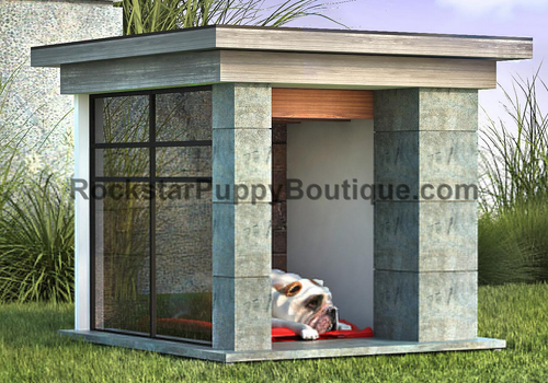 contemporary concrete and glass dog house