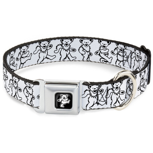 grateful dead dancing bears dog collar white