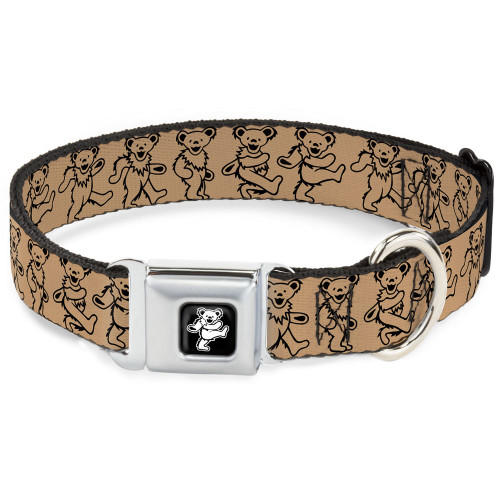 tan dancing bears dog collar