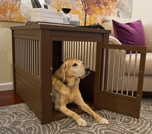 brown designer dog crate