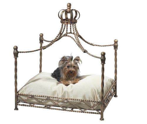 Antique Gold Crown Dog Bed