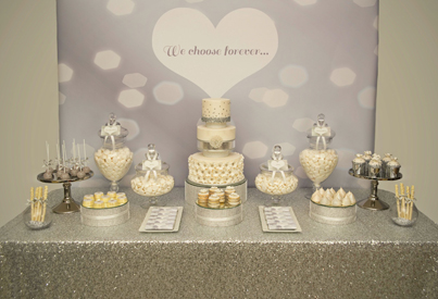 Metallic Silver And Sequin Wedding Dessert Table Little