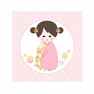 Pink Kokeshi Japanese Doll Bedroom Wall Canvas Art