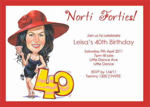 Caricature 21st 30th 40th 50th Birthday Party Invitations For