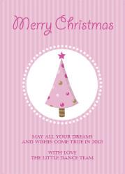 Pink Christmas Tree Christmas Party Invitations and Christmas Greeting Card