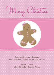 Pink Gingerbread Man Christmas Party Invitations and Christmas Greeting Card