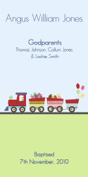 Train Baptism or Christening Ceremony and Godparent Candles
