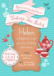 Vintage Kitchen Tea Party Invitation