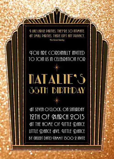 personalised great gatsby inspired party invitations printable