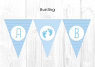 Blue Footprints Baby Shower Themed Personalised Decoration Bunting flags.