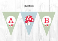 Toadstool Baby Shower Themed Personalised Decoration Bunting flags.