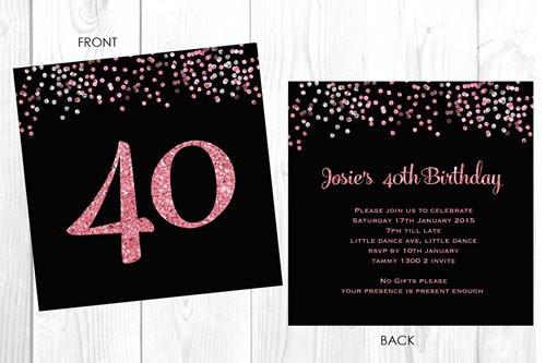 buy personalised 40th birthday invitations glitter efffect custom
