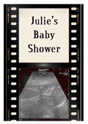Custom baby shower edible image icing or frosting sheet. Personalized - Filmstrip Ultrasound Showtime Theme