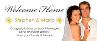 Custom welcome home party banner with photo. Order online in Australia