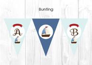 Nautical Sailboat Themed Personalised Baptism & Christening Decoration Bunting flags.