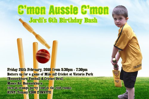 Cricket Tournament Anouncment Wording: Kids Cricket Themed Birthday Invitations Childrens Cricket