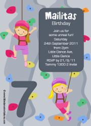 Girls Rock Climbing Party Invitation
