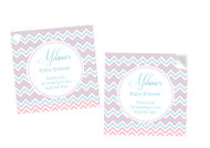 Pink & Blue Chevron Baby Shower Gender Neutral Square Tags and Stickers