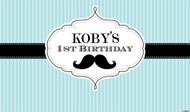 Little Moustache Man Party Personalised Kids Birthday Party Banners