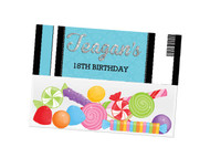 Blue VIP Event Ticket party themed personalised birthday party lolly bag, loot bag and party favour bags.