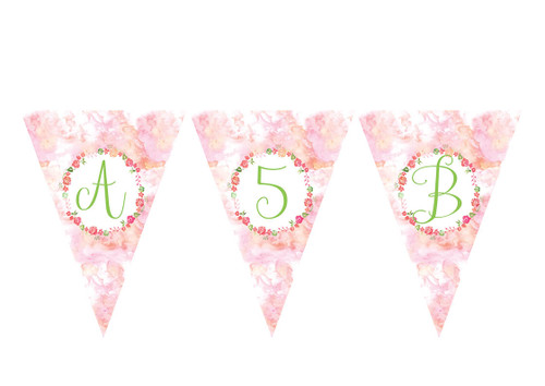 Floral Watercolour Birthday party personalised bunting flag decorations.