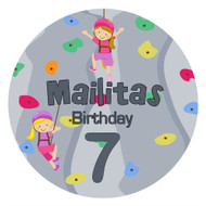 Girls Rock Climbing Birthday Party personalised stickers and labels