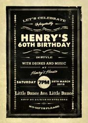 Vintage 60th Birthday Party Invitations