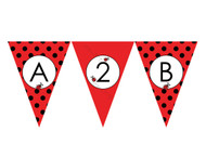 Red Ladybird Ladybug Personalised Birthday Party Bunting Flags