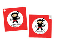 Ninja Party Personalised Square Labels, Square Stickers and Square Tags.