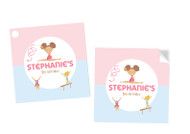 Girls Gymnastics Party Personalised Square Labels, Square Stickers and Square Tags.